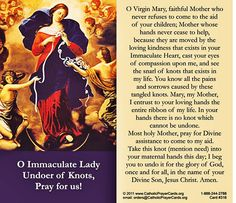 prayer mary untier of knots Prayers To Mary, Prayers For Healing, Closing Prayer, Pray Without Ceasing, Blessed Virgin Mary, Grateful Heart, Blessed Mother, Mother Mary, Pope Francis