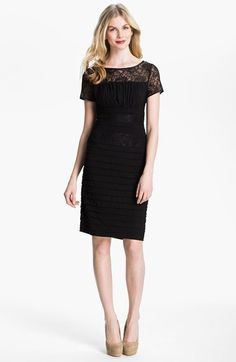 Adrianna Papell Illusion Yoke Pleated Jersey Dress available at #Nordstrom $158