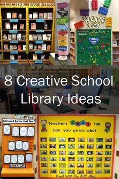Inspired by These 8 Creative School Library Ideas! These ideas that will help you jazz up your media center all year round.Get Inspired by These 8 Creative School Library Ideas! These ideas that will help you jazz up your media center all year round. School Library Decor, School Library Lessons, School Library Displays, Library Lesson Plans, Middle School Libraries, Library Themes, Elementary School Library, Library Skills, Library Ideas