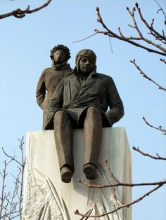 Statue of the little prince with his creator De Saint-Exupéry. Statue by Christiane Guillaumet in Lyon, France