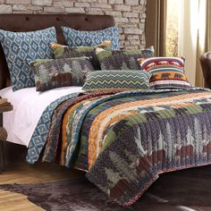Nature Cabin Lodge Wildlife Reversible Quilt Set Lodge, Home, Black Bear Lodge, Reversible Bedding, Bedding Sets, Bed, Greenland Home Fashions, Bedding Stores, Lodge Throw Pillows