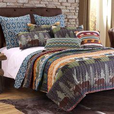 Nature Cabin Lodge Wildlife Reversible Quilt Set