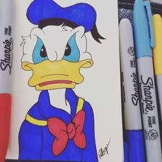 Sharpie drawing of Walt Disney's Donald Duck https://m.facebook.com/rebeccart.co.uk