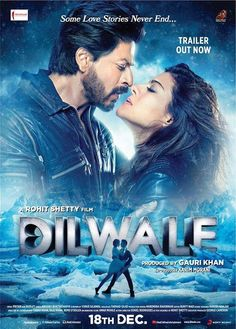 Bollywood action comedy starring Shah Rukh Khan and Kajol. Rohit Shetty's latest action comedy extravaganza 'Dilwale' hits cinemas after the blockbuster success of 'Chennai Express', which earned him a nomination for the Filmfare Award for best director. Srk Movies, 2015 Movies, Bollywood Stars, Dilwale 2015, Best Bollywood Movies, Download Free Movies Online, Hindi Movies Online, Romantic Movies, Indiana