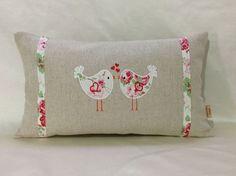 Decorative Lumbar Pillow ,White pillow cover, with Cath Kidston Lovebirds, linen, Boudoir Lumber Bolster throw pillow , floral pillow cover.: