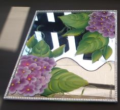 Hydrangea mirrored candle plate