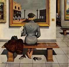 """""""Super painting by Stevan Dohanos American and best known for his Saturday Evening Post Covers . Working in fine Art as well as Commercial art. Norman Rockwell, Art Et Illustration, Illustrations, Foto Fashion, Saturday Evening Post, Art Vintage, Commercial Art, Ad Art, Artist Gallery"""