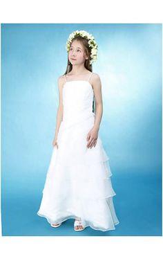 A-line Princess Spaghetti Straps Floor-length Organza Over Satin Junior  Bridesmaid Dress 4a765b1b2540