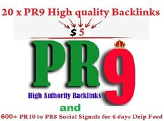 20 PR9 GOOGLE SAFE BACKLINKS** from **20 PR9 Authority Sites**  HUGE Page Rank, Trust Rank and Authority that is what your Website Needs for dominate Google! Panda and penguin 2.0 friendly! What about Mozilla? Opera? Drupal? Adobe? Etc? They will link to your website, this will increase Authority and Trust of your site!  And we give you a well-thought mix from 600+ social signals with PR10 to PR8 of 200+ Facebook Shares, 200+ Twitter Rettwet, 200+ Pinterest Repins all to your URL.