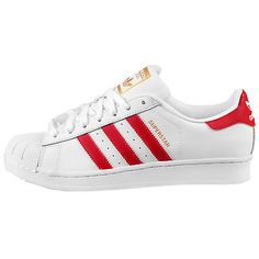 Adidas Superstar Foundation Mens B27139 White Red Shell Shoes Sneakers Size 10
