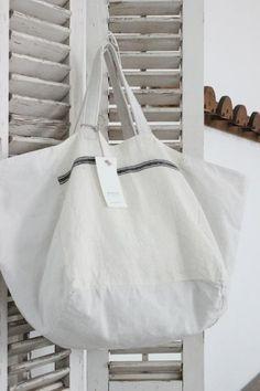Ana & Cuca Stripe Linen Tote