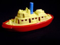 Vintage Renwal Toy Tugboat 1950s Yellow red & blue by TheSunParlor, $10.00