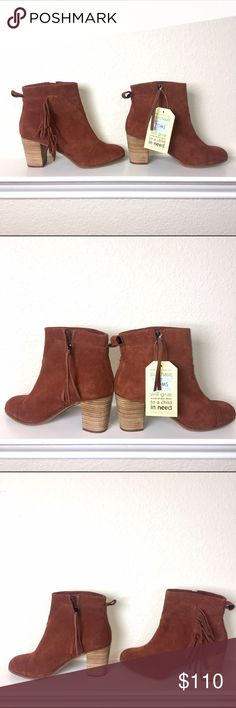 😍 Toms Suede Cognac Boots with Fringe 😍 Toms Suede boots Size 9 😊Price Firm😊 TOMS Shoes Ankle Boots & Booties