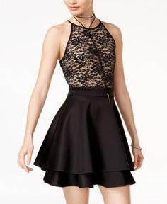 Emerald Sundae Juniors' Lace Fit & Flare Dress - Black 15
