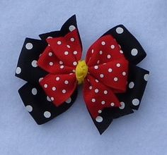 Minnie Mouse Hair Bow, Small Pinwheel Bow, Red and Black Minnie Mouse Hairbow…