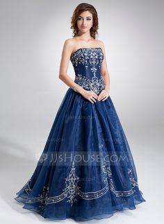 Ball-Gown Sweetheart Floor-Length Organza Quinceanera Dress With Embroidered Beading (021004556) - JJsHouse
