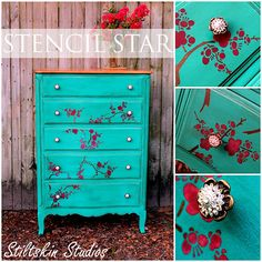 Design Amour and Stiltskin Studios: Gorgeous dresser transformed with Chalk Paint™ decorative paint in Florence, our Cherry Blossoms stencil and Royal stencil cremes!