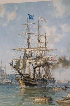 iGavel Auctions: John Stobart (British, b. 1929),Print, 'Savannah, World's First Steam Ship Leaving Savannah' E2ABN