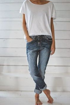 slouchy tee half-tucked + cuffed boyfriend or skinny jeans + fun flats or chucks