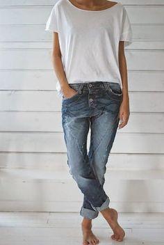 slouchy tee half-tucked + cuffed boyfriend or skinny jeans + fun flats or chucks