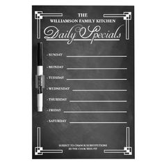 Fun chalkboard look customizable dry erase board for your kitchen! Great for organized meal planning. <b> **PLEASE NOTE** FOR BEST RESULTS, REPLACE THE BLACK PEN WITH A WHITE OR NEON COLORED DRY ERASE MARKER.</B>