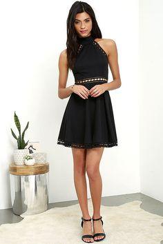 3dc1c3a424 Ease in Manner Black Lace Skater Dress