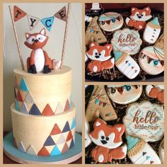 Triangles, teepees and foxes baby shower cookie and cake set Teepees, Baby Shower Cookies, Custom Cakes, Foxes, Triangles, Sperrys, Sweet Treats, Turquoise, Traditional