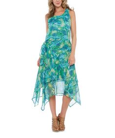 Another great find on #zulily! Aqua & Lime Abstract Side-Tie Handkerchief Dress by Vasna #zulilyfinds