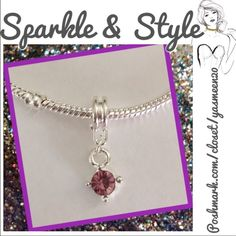 Light purple rhinestone charm Silver plated light purple rhinestone charm. Great addition to your charm bracelet 2 Accessories