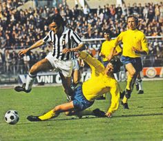 Juventus 3 Derby Co 1 in April 1973 in Turin. David Nish makes a tackle in the European Cup Semi Final, 1st Leg.