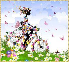 Девушка усыпанная цветами едет на велосипеде, кругом порхают бабочки