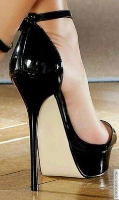 Trendy High Heels For Ladies : Black High Heels For Prom, Extreme High Heels, Very High Heels, Black High Heels, Hot Heels, High Heel Boots, Heeled Boots, Talons Sexy, Stripper Heels