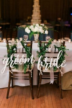 These lightweight laser-cut chair signs come in a wide array of colors to complement any wedding palette. The three-dimensional calligraphy lends an elegant yet modern look.