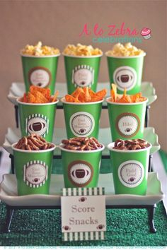 Super cute way to serve chips at a football party!