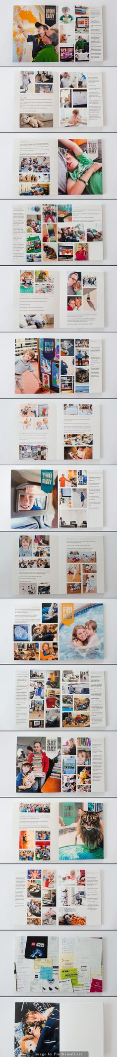Clean & simple grid structure with focus on images. Love the scanned paper memorabilia. | Week In the Life Photo Book from surf and sea design