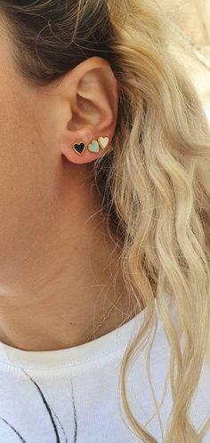 Black Enamel, Gold Studs, My Etsy Shop, Handmade Jewelry, Classy, Stud Earrings, Romantic, Pairs, Check