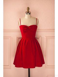 Red Spaghetti Straps Black Lace t Mini  Homecoming Dresses(ED1816) Popular Dresses, Dresses Uk, Pretty Dresses, Short Dresses, Formal Dresses, Mini Dresses, Vintage Dresses, 1950s Dresses, Vintage Clothing