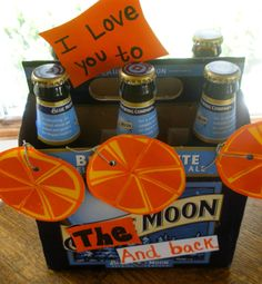 """Great idea and I think I will do this for Tom. what the heck is the pragne slice things and why are they there. I understand you put an orange slice in blue moon beer, but is there something to this? Valentines day ♥ omg so cute. But i'm thinking bud light -- """"you light up my life"""""""