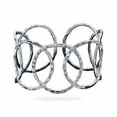 Sterling Silver Hammered Open Circle Cuff West Coast Jewelry. $159.95