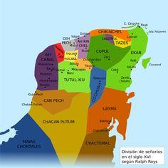 División de cacicazgos mayas en el siglo XVI según Ralph Roys.