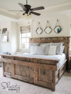 DIY King Size Bed Free Plans love bed and decorations. Instead of mirrors have pictures in frames