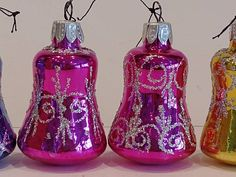 Set of 9 Mercury Glass Bell Ornaments - Vintage Christmas Tree Decorations Christmas Items, Christmas Shopping, Vintage Christmas, Handmade Shop, Handmade Items, Handmade Gifts, Mercury Glass, Christmas Tree Decorations, Frocks