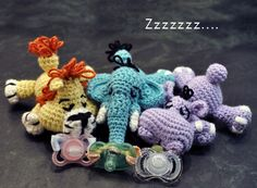 How to Make a Binky Buddy (adorable plush toys with pacifiers attached to their mouths and perfectly sized for babies to snuggle with) - Tutorial here: http://www.mkcrochet.com/tutorials/how-to-make-a-binky-buddy/