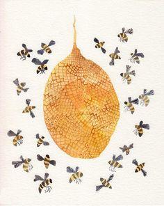 bees around the hive art