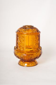 Amber Glass Candle Holder by NeatoVintage on Etsy, $18.00