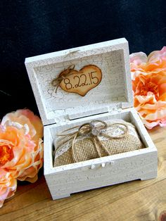 Ring Bearer Box Pillow Personalized Wood Heart by justforkeeps