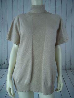 STYLE & CO Woman Sweater 3X Gold Glitter Turtleneck Viscose Poly Metallic Knit  #STYLECO #Turtleneck