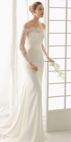 off the shoulder wedding dresses modern sheath lace sleeves bridal gown with train rosa clara.. Really love this one..