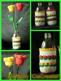 ©ClaCreatief  Tulpen in flesjes gehaakt. Meer informatie vindt je op mijn facebookpagina: https://www.facebook.com/clacreatief/