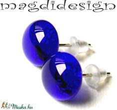 Csodás kék üvegékszer pötty fülbevaló (magdidesign) - Meska.hu Techno, Stud Earrings, Jewelry, Jewlery, Bijoux, Studs, Schmuck, Stud Earring, Jewerly